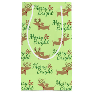 Wiener Dog Christmas Gift Bag Merry & Bright