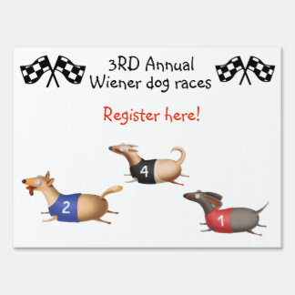 Wiener Dog Races Sign