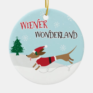 Wiener Wonderland Ceramic Ornament