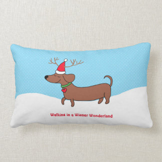 "Wiener Wonderland Cotton Throw Pillow, 13"" x 21"" Lumbar Pillow"