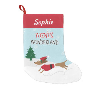 Wiener Wonderland Personalized Small Christmas Stocking