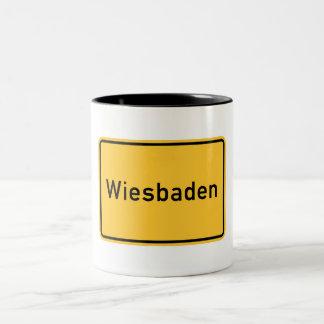 Wiesbaden, Germany Road Sign Two-Tone Coffee Mug