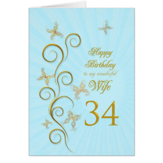 Wife 34th Birthday with golden butterflies Card
