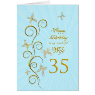 Wife 35th Birthday with golden butterflies Card