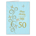 Wife 50th Birthday with golden butterflies Card