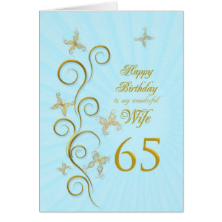 Wife 65th Birthday with golden butterflies Card