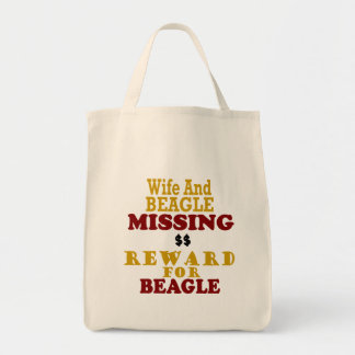 Wife & Beagle Missing Reward For Beagle Tote Bags