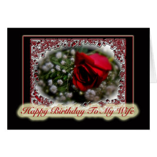 Wife Birthday Rose & Baby's Breath Card