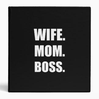 Wife Boss Mom 3 Ring Binders