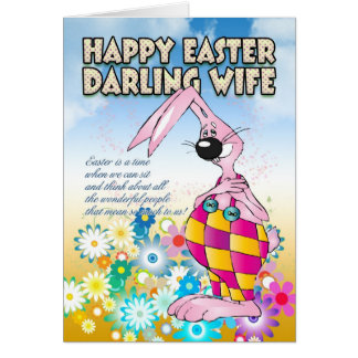 Wife Easter Card - Easter Bunny Flowers