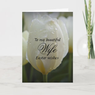 Happy to wife easter gifts on zazzle ca wife easter wishes elegant white tulip christmas card negle Gallery