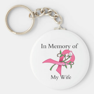Wife - In Memory - Breast Cancer Basic Round Button Keychain