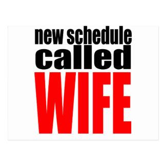 wife marriage joke schedule newlywed reality quote postcard