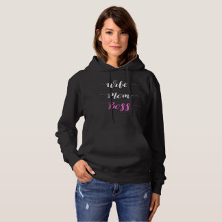 Wife mom boss calligraphy style hoodie