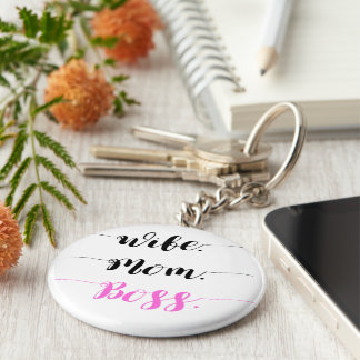 Wife mom boss calligraphy style keychain