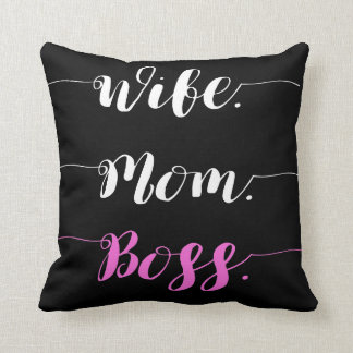 Wife mom boss calligraphy style throw pillow