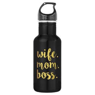 Wife Mom Boss Gold Script water bottle