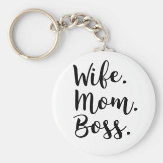 wife mom boss keychain
