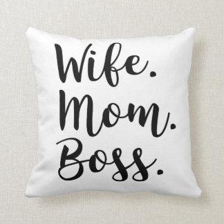 wife mom boss throw pillow