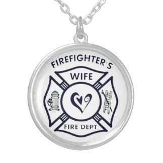 Wife of a firefighter silver plated necklace