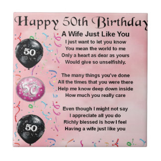 Wife Poem - 50th Birthday Tile