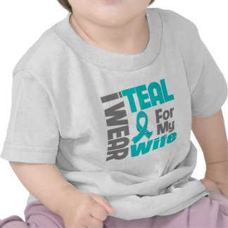 Wife - Teal Ribbon Ovarian Cancer Support Tshirt