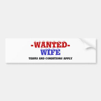 WIFE WANTED! BUMPER STICKER