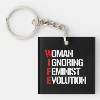 WIFE - Woman Ignoring Feminist Evolution --  white Single-Sided Square Acrylic Keychain