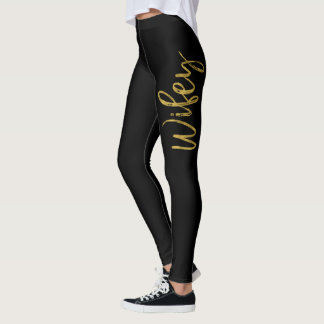 Wifey Black & Gold Faux Foil Typography Yoga Pants