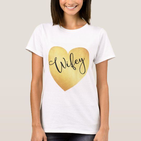 Wifey Calligraphy Tshirt with Gold Foil Heart
