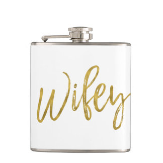 Wifey Flask with Gold Foil Typography