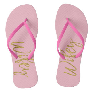 Wifey Flip Flops with Gold Foil and Pink