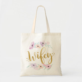 Wifey Floral Tote Bag Bride-To-Be Gift Item