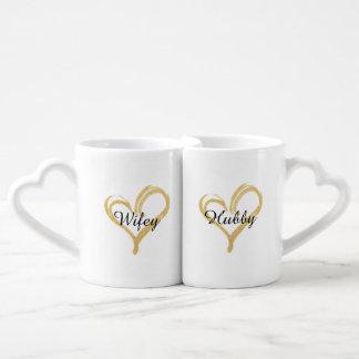 Wifey & Hubby Gold Heart Coffee Mug Set
