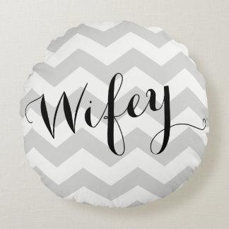 Wifey Pillow with Chevron Background