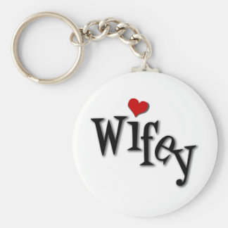 Wifey With Funky Red Heart Keychain