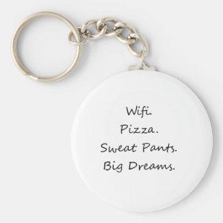 Wifi. Pizza. Sweat Pants. Big Dreams Keychain