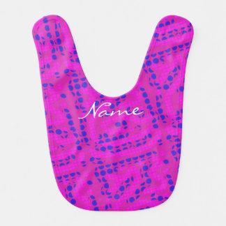 wiggly pink/ blue polka dots Thunder_Cove Baby Bib