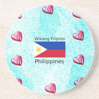 Wikang Filipino Language And Philippines Flag Coaster
