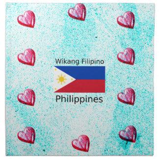 Wikang Filipino Language And Philippines Flag Napkin