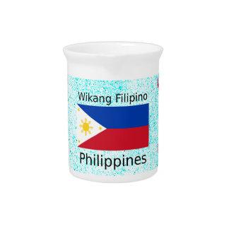 Wikang Filipino Language And Philippines Flag Pitcher