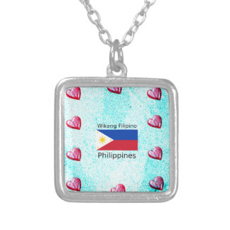 Wikang Filipino Language And Philippines Flag Silver Plated Necklace