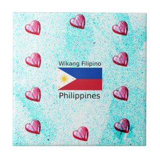Wikang Filipino Language And Philippines Flag Tile