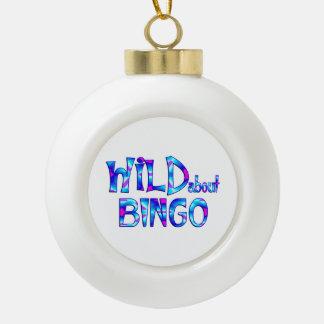 Wild About Bingo Ceramic Ball Christmas Ornament