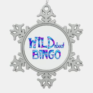 Wild About Bingo Snowflake Pewter Christmas Ornament