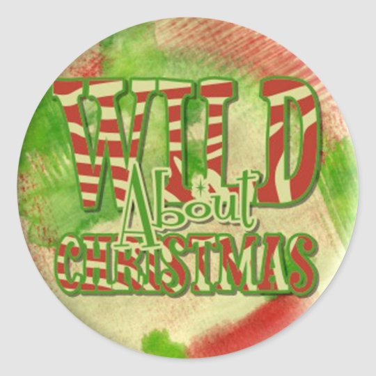 wild about christmas retro vintage classic round sticker