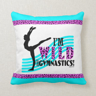 Wild About Gymnastics Throw Pillow
