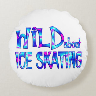 Wild About Ice Skating Round Pillow