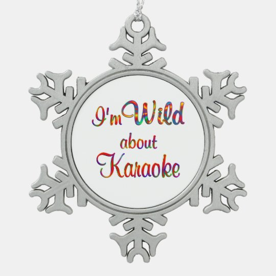 Wild About Karaoke Snowflake Pewter Christmas Ornament