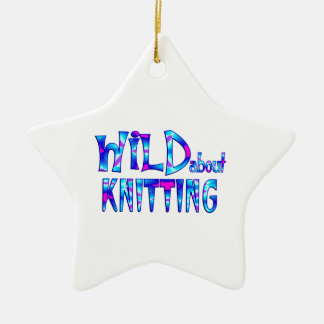Wild About Knitting Ceramic Ornament
